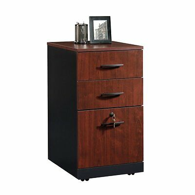 Filing Cabinet File Storage Via 3 Drawer in Classic Cherry Transitional