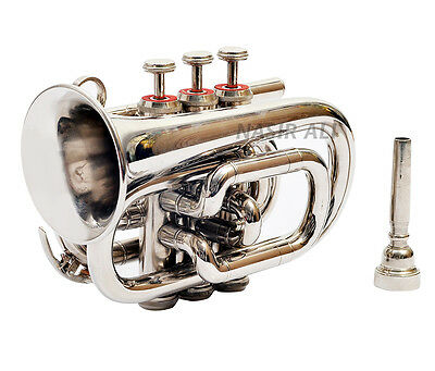 High Grade Silver Nickel Plated Pocket Trumpet Large bell Bb Horn With Case + mp
