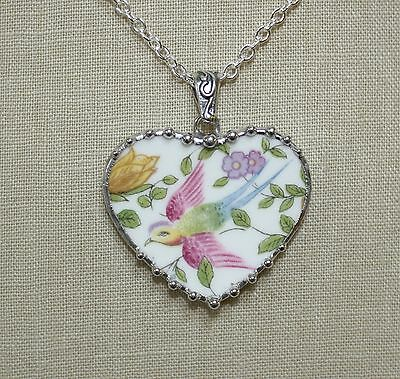 Broken China Jewelry Large Cotswold Bird Heart Pendant Necklace