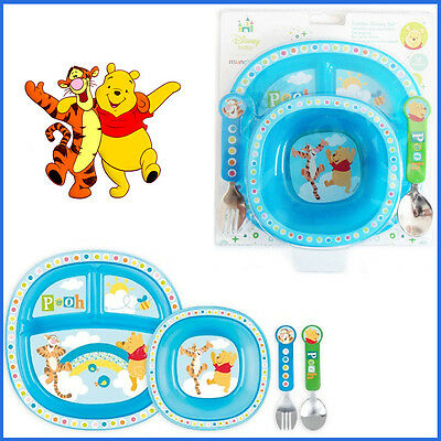 4Pcs Poo Bear Baby Dining Set MUNCHKIN Toddler Feeding Plate Bowl Folk Gift Set