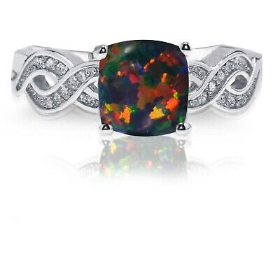 Infinity Celtic Princess Cut Black Fire Opal White Sapphire Sterling Silver Ring