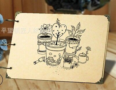 DIY 30Pages 26.8cm x 16.7cm Kraft Plant Photo Album Wedding Scrapbook