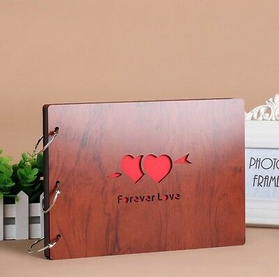 DIY 30Pages 27.3 x 19.8cm Wood Cover 3 Rings Photo Album Scrapbook FOREVER LOVE