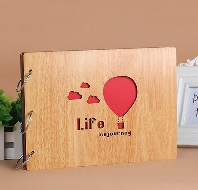 DIY 30Pages 19.5 x 26.5cm Beige Wood Cover 3 Rings Photo Album Scrapbook BALLOON