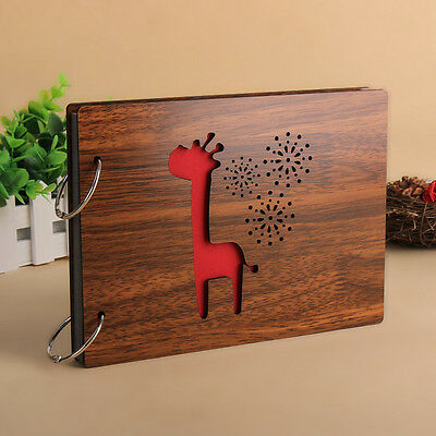"DIY 30Pages 8"" 22 x 16cm Wood Cover 2 Rings Photo Album Scrapbook Giraffine"