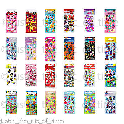 STICKERS Childrens Official Character Fun Pack Party Loot Bag Fillers Sheets x6