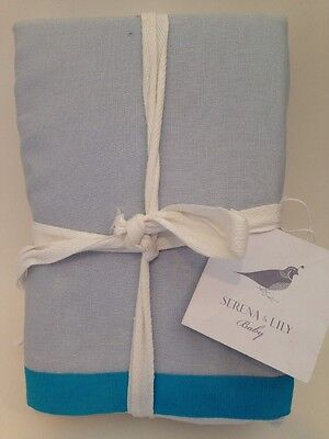 "New Serena & Lily Banded Linen Crib Skirt Chambray/Cyan Aqua blue 17"" Drop $78"