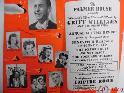 1943 Griff Williams Orchestra Empire Room Palmer House Hotel Brochure Chicago VG