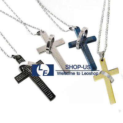 New Cross Pendant Necklace Chain With Bible Lord's Prayer in Spanish & Halo Ring