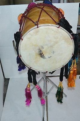 !!sale!! Mango Wood  Punajbi Dhol With Fitted Leather,fiber Skin, Stand & Sticks