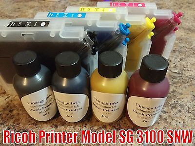 Sublimation Ink PreFilled Refillable Cartridges Set of Inks for Ricoh 3100 SNW