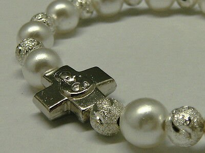 Poly Pearl Bead Religious Elastic Bracelet With Silver Metal Charm and Cross