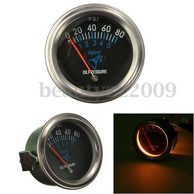 "2"" 52mm Mechanical Fuel Oil Pressure Gauge Automotive Car Black Face 0~80 PSI"