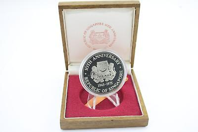 1975 Singapore Mint Silver Proof $10 Coin Wooden Cased COA