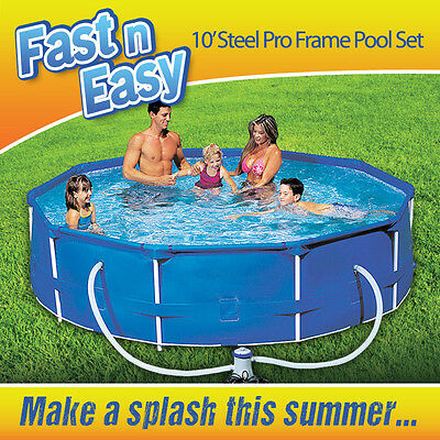 10ft Steel Frame Family Garden Swimming Pool With Filter Pump Fast N Easy Ø305cm
