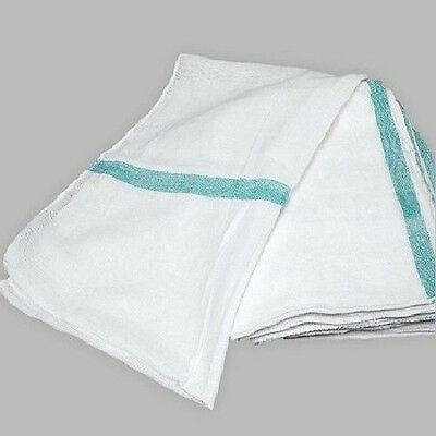 12 100% Cotton Tea Towels Green Stripe Dish Towels Lint Free Flour Sack Towel