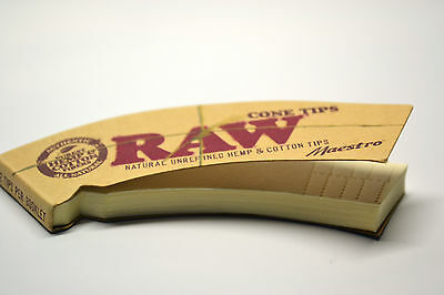 RAW Cone Tips Maestro Rolling Filter Tips Roach 32/Pack Natural Hemp & Cotton