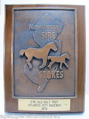 Vtg 1972 New Jersey Sire Stakes Atlantic City Raceway Horse Trophy Award Plaque