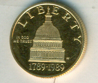 1989 $5 Gold 200th Anniversary of Congress Gem Proof (No Packaging)