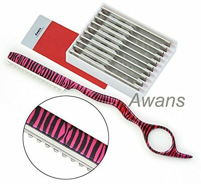 Hairdressing Thinning Razor, Hair Styling Razor, Pink Zebra Pattern +10 Blades