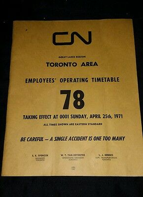 CN Rail Employees Operating Timetable 78