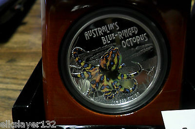 2008 Tuvalu 1 oz Silver Blue Ringed Octopus Proof with Box and COA **Very Rare**
