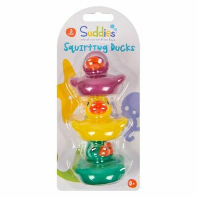 New 3 Rubber Coloured Ducks Fun Kids Bath Squeaky Toy Baby Duck Time UK SELLER ✔
