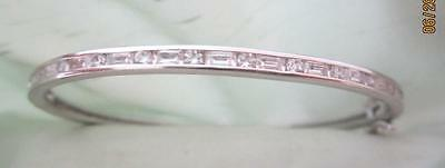 "Epiphany Plat. Clad Sterling Hinged 7"" Bangle W/ Round & Baguette Diamonique"