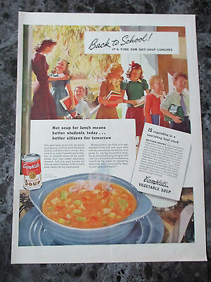 "Vintage 1942 Campbells Vegetable Soup Back to School Print Ad, 13.875"" X 10.25"""