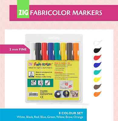 ZIG FABRICOLOR MARKERS: 8 COLOUR SET - Fine 2mm Tip - Fabric/Wood/Paper/Craft