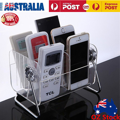 Clear TV Remote Control Mobile Phone Glasses Organizer Stand Holder Storage Box