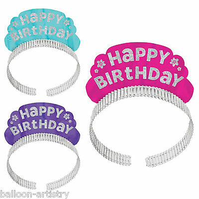 12 Joyful Pink & Teal Happy Birthday Party Glitter Sparkle Tiara Headbands