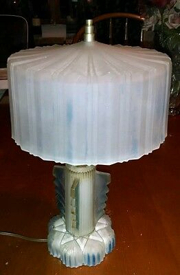 Vintage Art Deco Frosted Glass Lamp, Very Retro, Mid Century Glass Shade, Cool!
