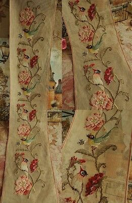 "49.5"" Long Vintage PREWORKED Needlepoint Canvas Flowers - Birds VIVID On Branch"