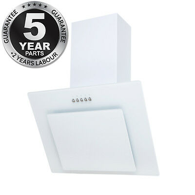 SIA AGL71WH 70cm Angled Glass Chimney Cooker Hood Extractor Fan In Ice White
