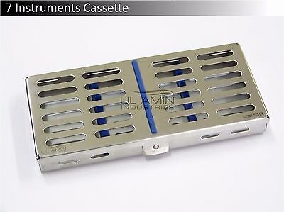 7 Instruments Dental Surgical Sterilization Autoclave Cassette Tray Stainless