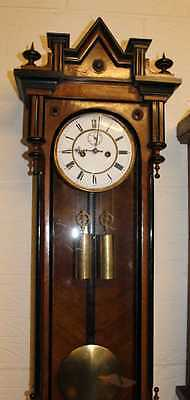 1880's Vintage Carved Walnut and Ebony Vienna regulator Wall Clock - 8 x day  .
