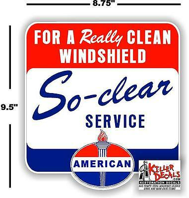 """9.5"""" American Standard So Clear Windshield Service Box Decal Station Gasoline"""