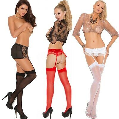 Sheer Thigh Hi Lingerie Stockings Regular or Queen Plus Size  EM1725
