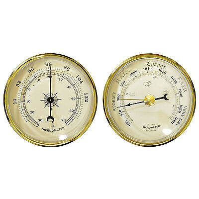 New Set Of 2 Weather Barometer + Thermometer Wireless Monitor Plastic Gold Trim