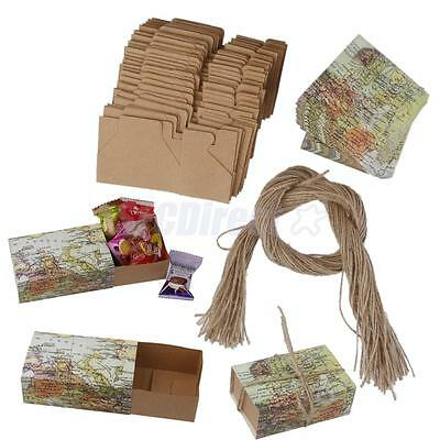 50Pcs Paper Candy Gift Box Return Gift Wedding Birthday Party Favors w/ Rope