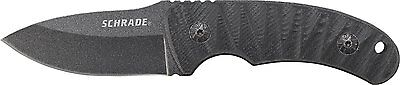 SCHRADE Tactical Black Full Tang DROP POINT Fixed Blade Knife + Sheath! SCHF57