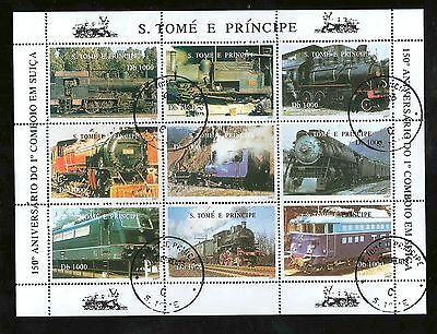 S Tome E Principe 1997 The 150th Ann. of Swiss Railway minisheet 9 Stamps
