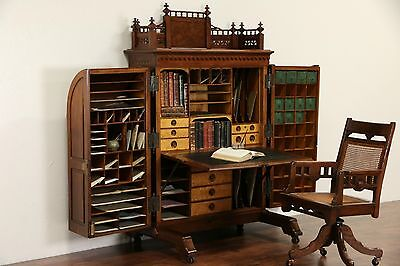 Wooton Signed Victorian 1874 Patent Antique Walnut Desk