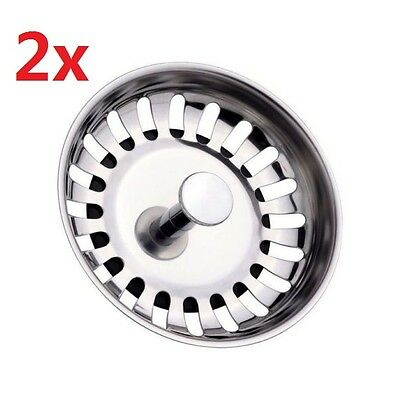 2x Stainless Steel Replacement  Kitchen Sink Strainer Drainer Waste Plugs (80mm)