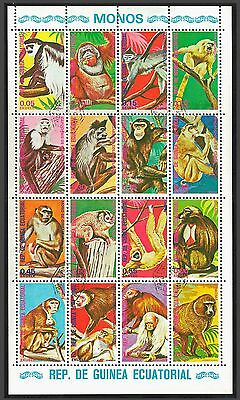Equatorial GUINEA 1974 Monkeys minisheet x 16 Stamps