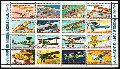 Equatorial GUINEA 1974 AIRCRAFT VINTAGE PLANES  minisheet x 16 Stamps