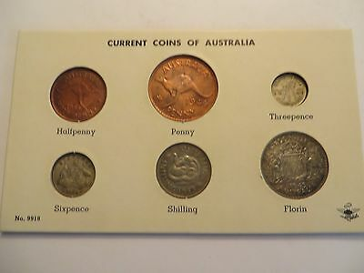 """""""Current Coins of Australia"""" 6 coins (4 are silver), carded, Uncirculated"""