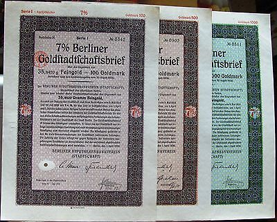 German bond Berliner Gold Mortgage Pfandbrief 4/1930. Lot of 3 different
