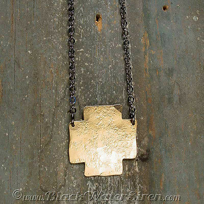 ELEMENT CROSS NECKLACE - Timelessly Classic Aged Hammered Bronze Necklace